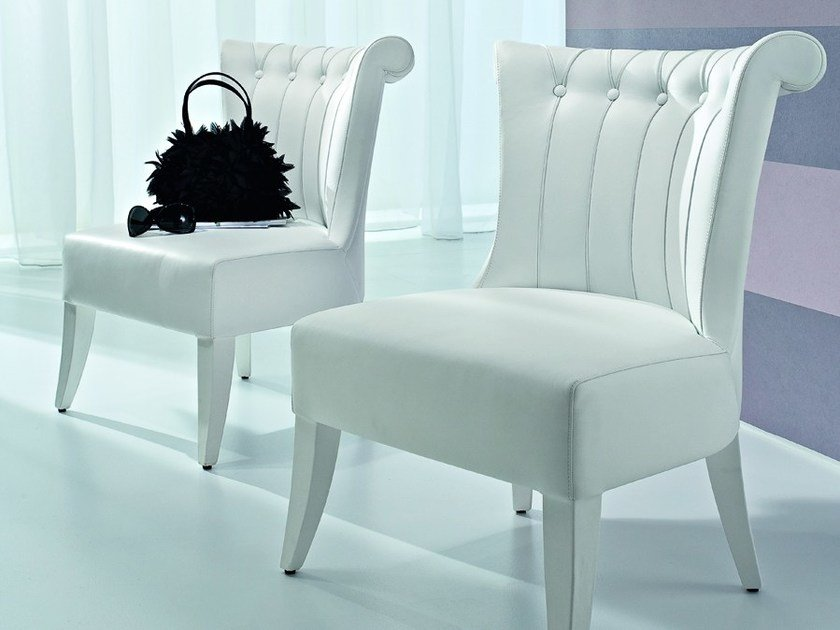 Upholstered leather easy chair JASMINE | Easy chair - CIACCI