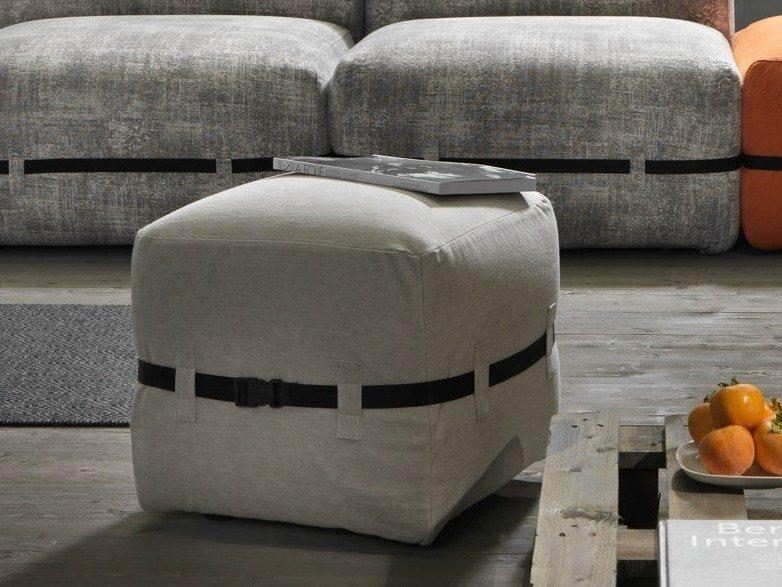 Upholstered fabric pouf POUFFY | Pouf - MY home collection