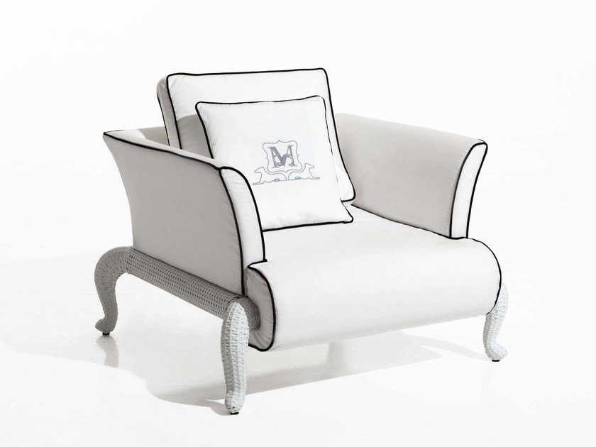 Fabric garden armchair with removable cover CANOPO | Garden armchair - Samuele Mazza Outdoor Collection by DFN
