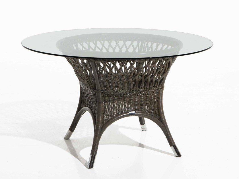 Round woven wicker garden table VEGA | Garden table - Samuele Mazza Outdoor Collection by DFN