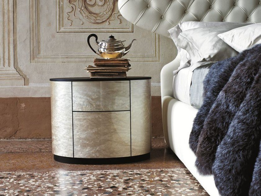 Oval bedside table with drawers CHARM | Bedside table - CIACCI