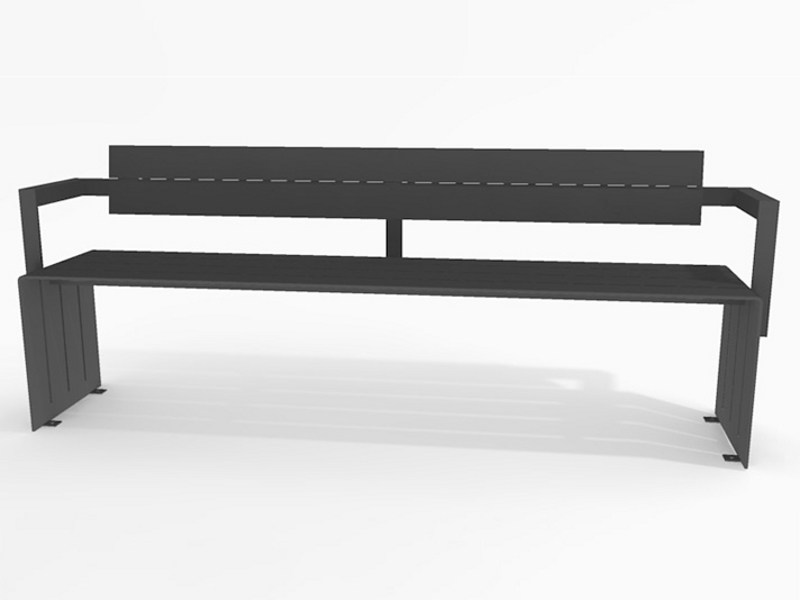 Steel Bench with back BLOC STEEL | Bench with back - Factory Street Furniture