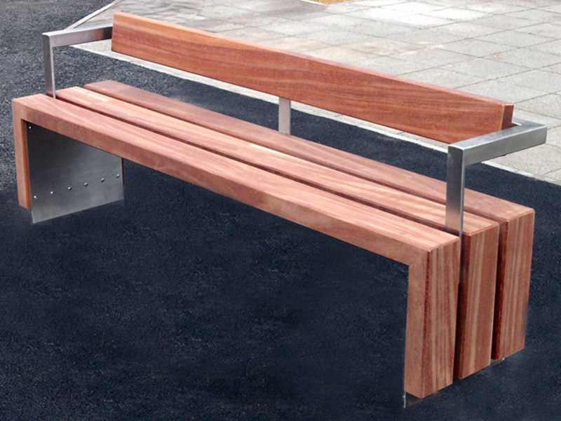 Wooden Bench with back BLOC WOOD | Bench with back - Factory Street Furniture