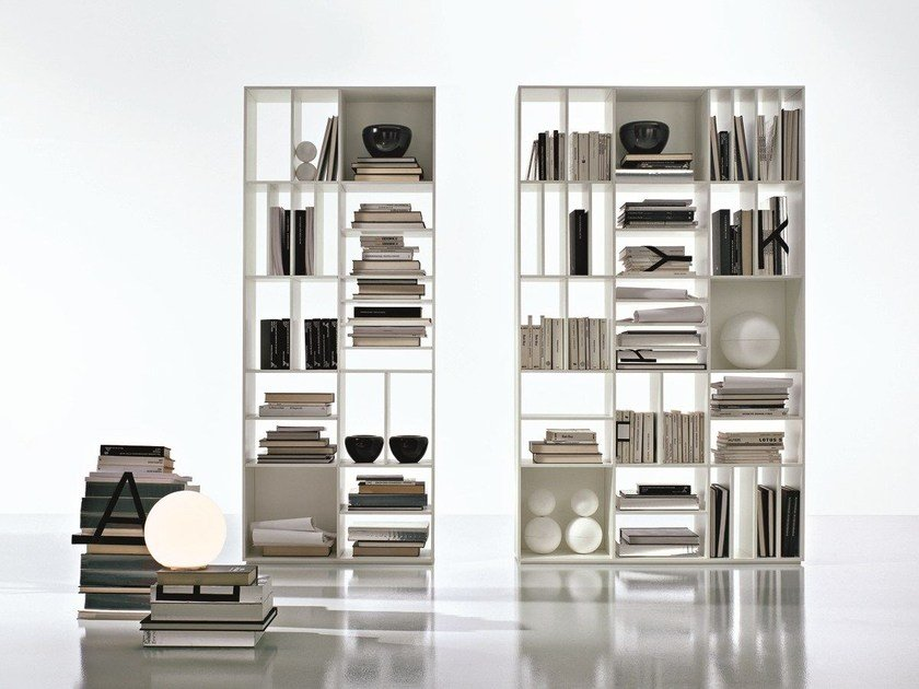 Open double-sided divider multi-layer wood bookcase LOGICA by CIACCI