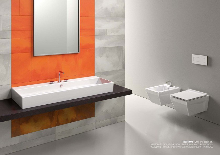 Countertop rectangular ceramic washbasin PREMIUM 120 | Ceramic washbasin - CERAMICA CATALANO
