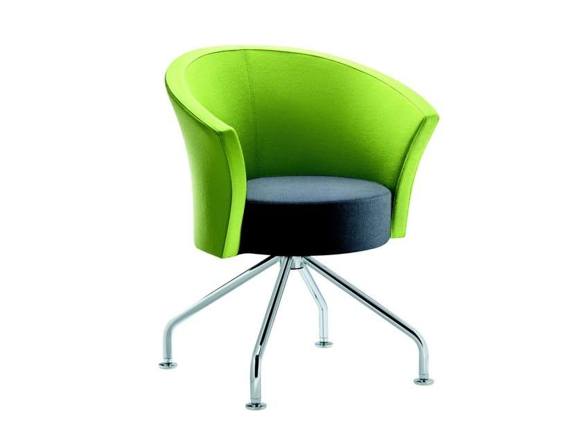 Upholstered trestle-based easy chair BOB   Trestle-based easy chair - ROSSIN