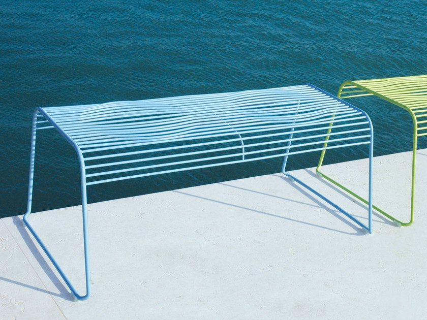 Powder coated steel garden bench GRID | Garden bench - CIACCI