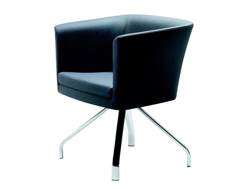 Swivel trestle-based easy chair with armrests COURT   Trestle-based easy chair - ROSSIN