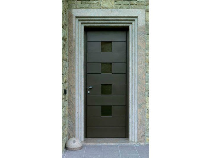 Puerta de entrada de aluminio y madera by carminati serramenti for Puerta entrada aluminio