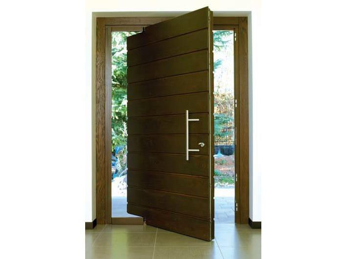 Puertas Para Baño Exterior:Puerta de entrada pivotante de pino para exterior Puerta de entrada