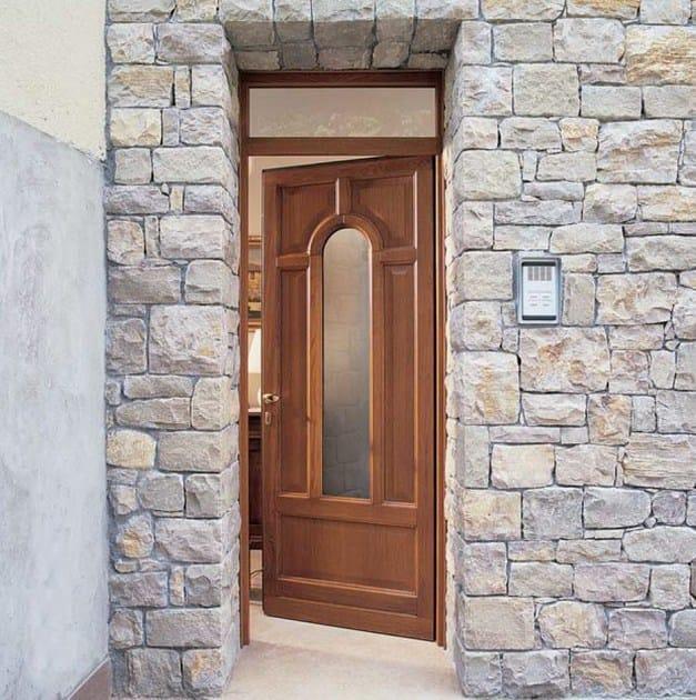 Porta d 39 ingresso in legno per esterno con pannelli in - Porte ingresso vetro ...
