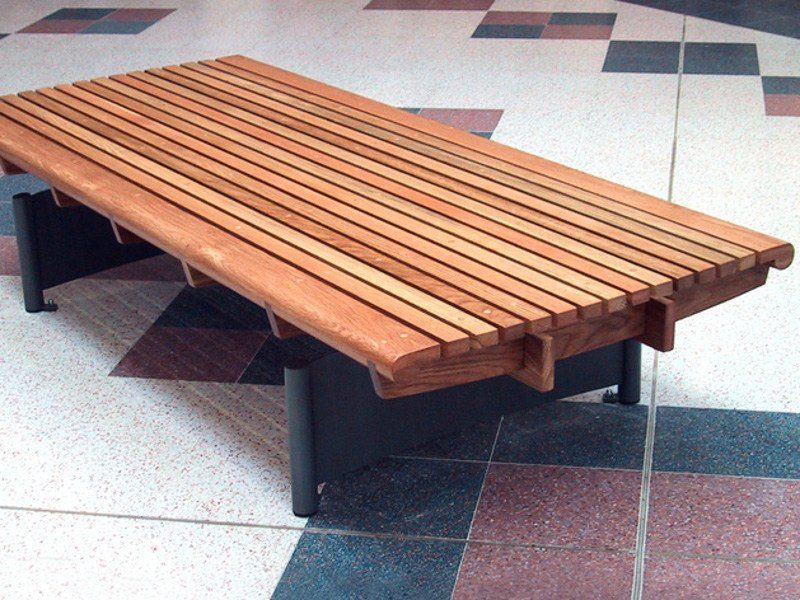 Backless wooden Bench SCROLL DOUBLE - Factory Street Furniture