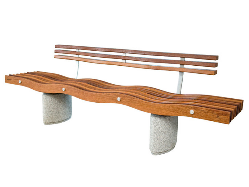Wooden Bench with back SERPENTINE ELIPSE | Bench with back - Factory Street Furniture