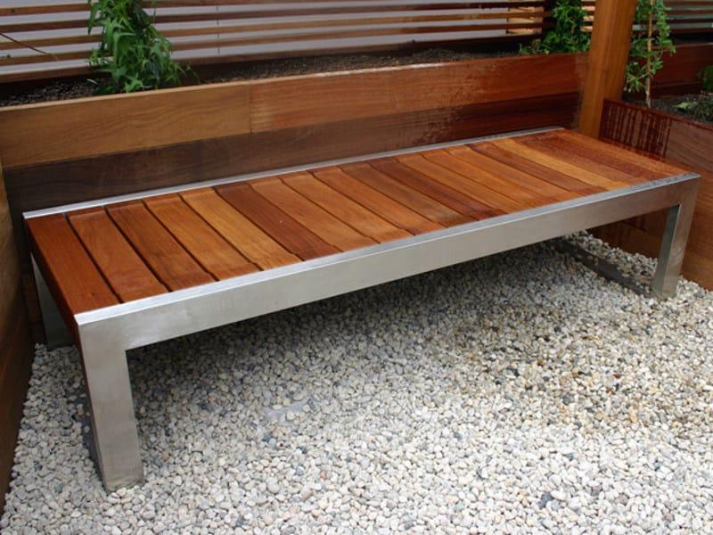 banc en acier inoxydable et bois collection skop by factory furniture. Black Bedroom Furniture Sets. Home Design Ideas