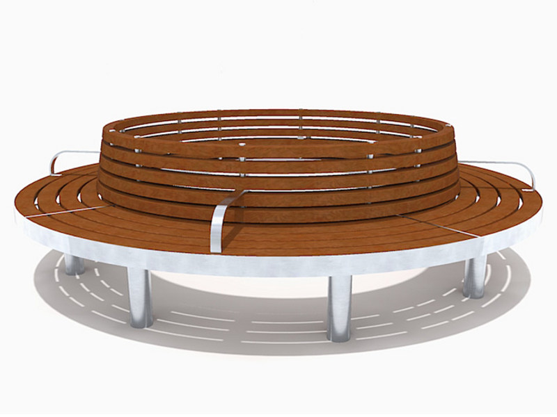 Curved stainless steel and wood Bench with armrests TREE FULL | Bench with armrests - Factory Street Furniture