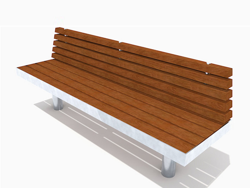 Stainless steel and wood Bench with back TREE STRAIGHT | Bench with back - Factory Street Furniture