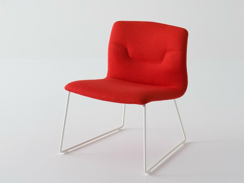 Sled base upholstered fabric easy chair SLOT | Sled base easy chair by GABER
