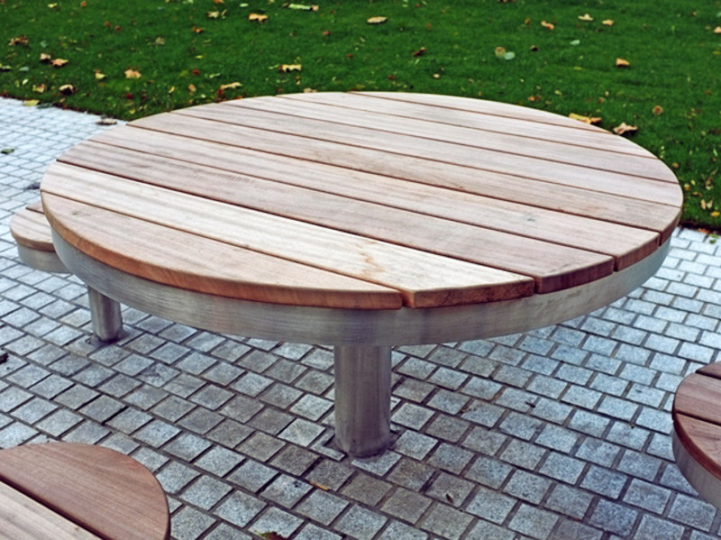 Stainless steel and wood Table for public areas TREE | Table for public areas - Factory Street Furniture