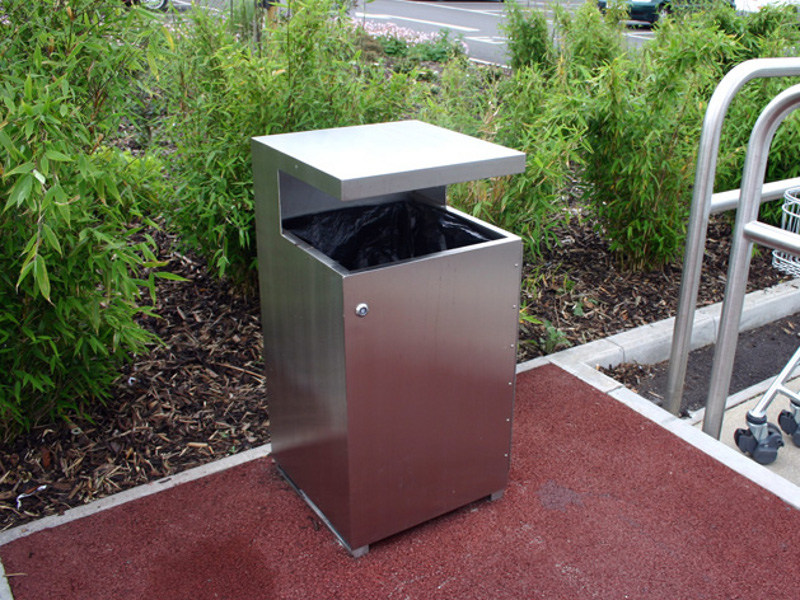 Stainless steel waste bin SKOP | Waste bin - Factory Street Furniture