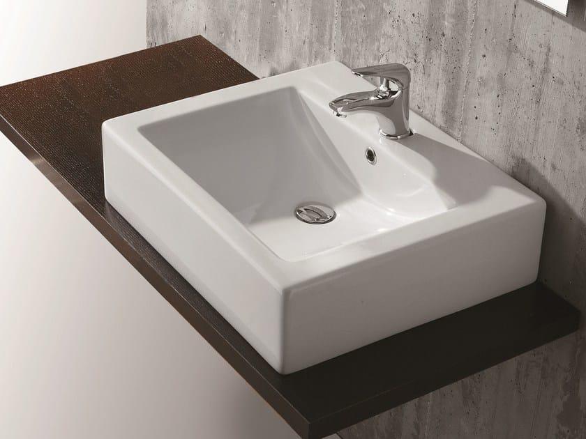Countertop rectangular washbasin SARAH by Olympia Ceramica
