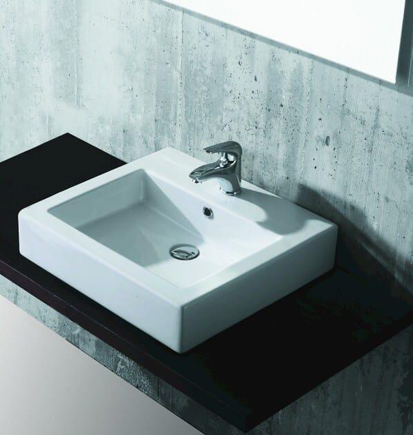 Countertop rectangular washbasin FLY - Olympia Ceramica