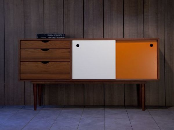 Fidar rosewood white/orange sideboard