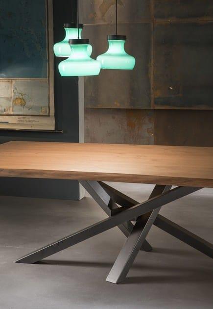 Tavolo da pranzo rettangolare in acciaio inox e legno SHANGAI ...