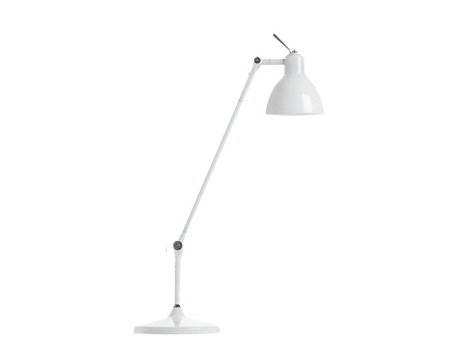 With swing arm glass and steel table lamp LUXY T1 - Rotaliana
