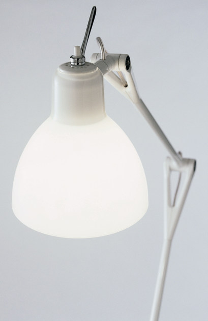 With swing arm glass and steel desk lamp LUXY T4 - Rotaliana