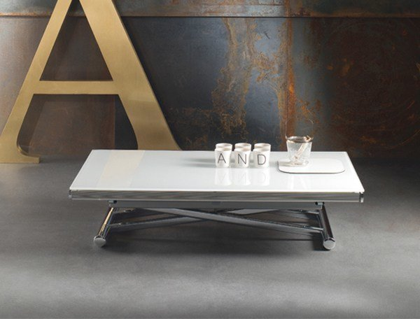 Height-adjustable glass and steel coffee table GENIUS | Height-adjustable coffee table by RIFLESSI