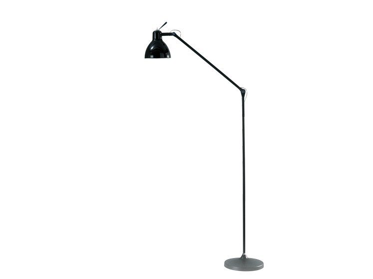 Glass and steel floor lamp with swing arm LUXY F1 by Rotaliana