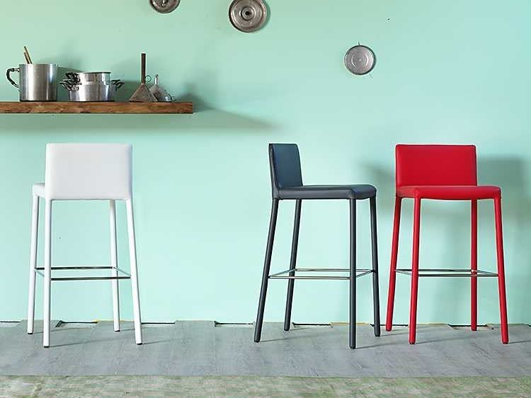 High leather stool GINGER | Stool - Miniforms