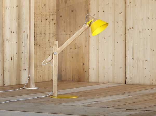 Direct light with swing arm adjustable wooden table lamp SLOPE | Table lamp - Miniforms