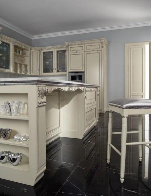 cucina laccata foglia argento in stile veneziano