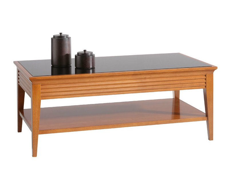 Rectangular wooden coffee table for living room LUNA | Rectangular coffee table - SELVA