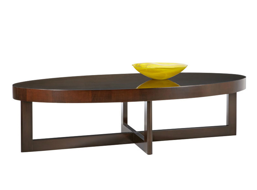 Oval wooden coffee table for living room CRISS CROSS - SELVA