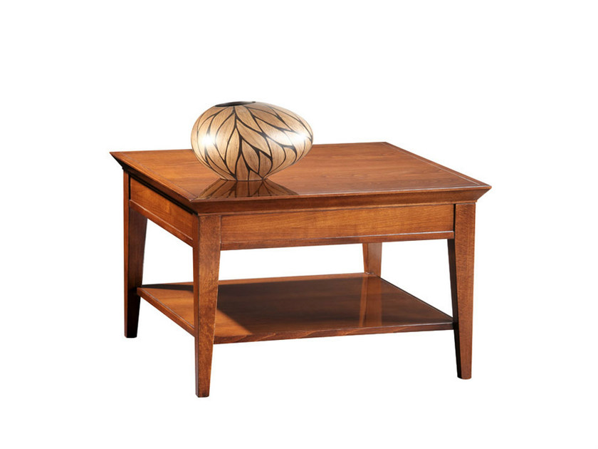 Low wooden coffee table for living room SOPHIA | Square coffee table by SELVA