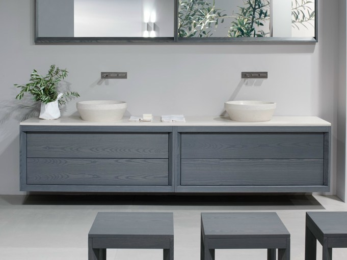 Lacquered wall-mounted ash vanity unit with drawers TRAY | Double vanity unit - GD Arredamenti