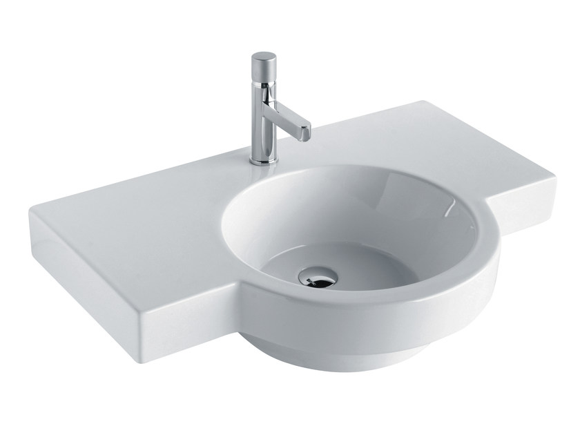 Washbasin with integrated countertop TUTTO EVO | Washbasin with integrated countertop - Olympia Ceramica