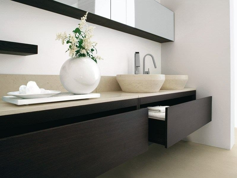 Double wall-mounted ash vanity unit TRAY | Vanity unit with drawers - GD Arredamenti