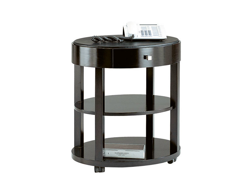 Round wooden coffee table with integrated magazine rack DOWNTOWN | Side table - SELVA
