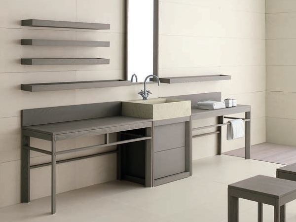 Single ash vanity unit with drawers VASCA LUNGA | Sectional vanity unit - GD Arredamenti