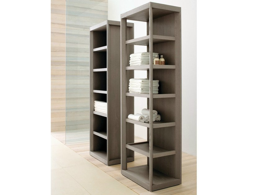 Tall open ash bathroom cabinet VISONE | Tall bathroom cabinet - GD Arredamenti