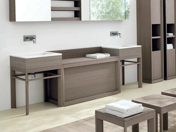 Low ash bathroom cabinet with drawers VISONE | Low bathroom cabinet - GD Arredamenti
