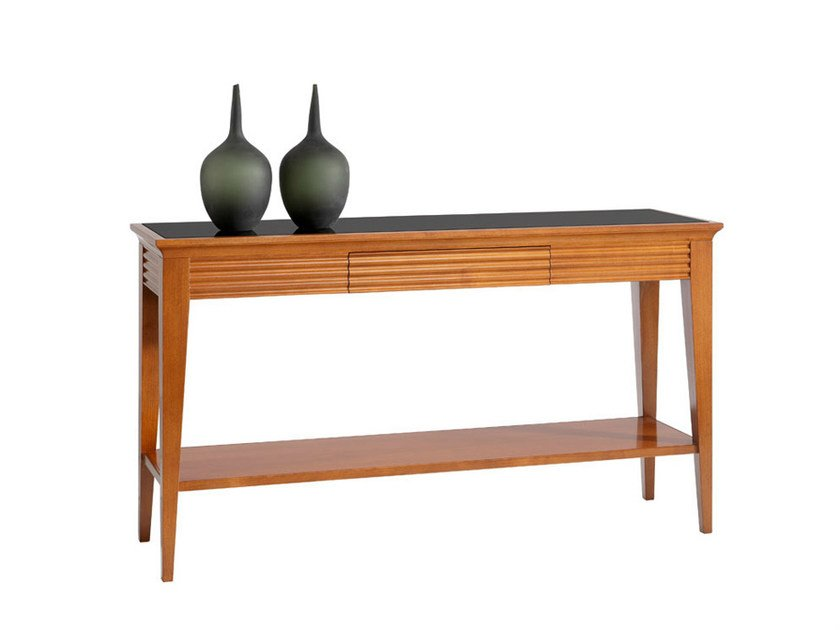 Rectangular wooden console table with drawers LUNA | Console table - SELVA