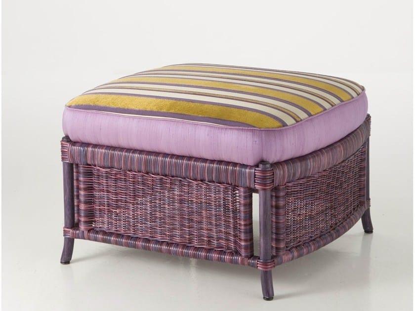 Upholstered rattan pouf ISABELLA | Pouf - Dolcefarniente by DFN