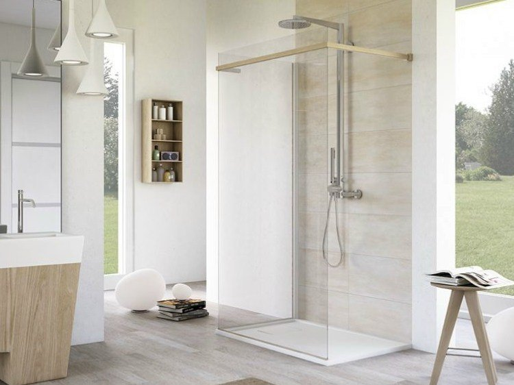 Corner rectangular glass shower cabin with tray MATERIA SP2 - MEGIUS