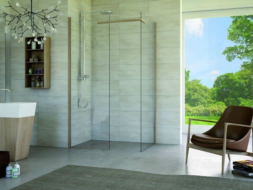 Corner rectangular glass shower cabin MATERIA SA2 by MEGIUS