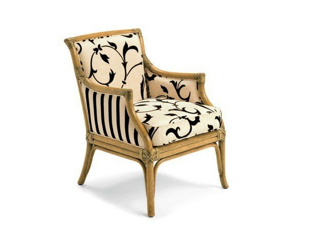 Rattan easy chair with armrests JOSEPHINE by Dolcefarniente