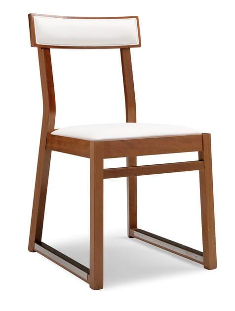 Sled base beech chair ITALIA 439 B - Palma